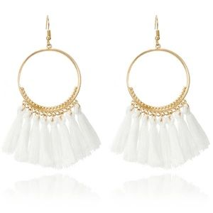 Jewelry - 5 for $25 White Hoop Tassel Fringe Earrings